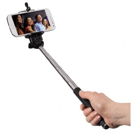 Hama Selfie MOMENTS 100, Bluetooth, selfie tyč s integrovanou spúšťou, čierny/strieborný
